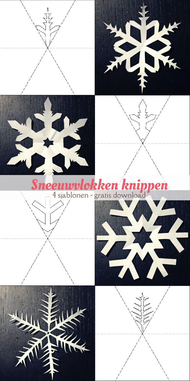 Vier gratis, printbare sjablonen van sneeuwvlokken om uit te knippen. | Free printable download for cutting snowflakes. #winter #craft #kids #free #download sjabloon