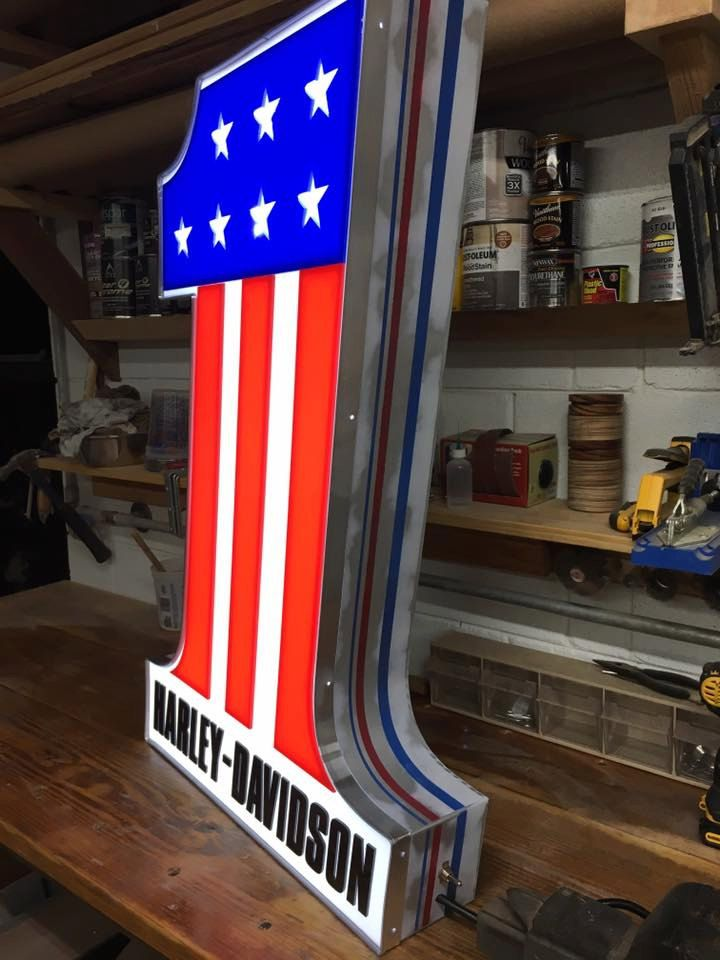 Harley Davidson Evel Knievel LED Sign by woodnzebra on Etsy