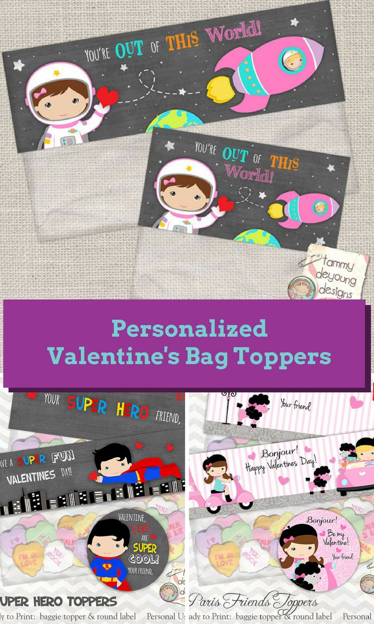 The cutest personalized printable Valentine's treat bag toppers.  Perfect for the classroom.  #valentinesparty #valentinestreat #affiliate