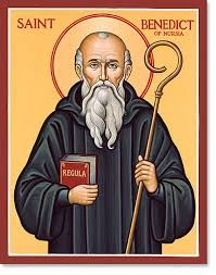 St. Benedict of Nursia (c. 480 – 543 or 547)  St. Benedict founded twelve communities for monks at Subiaco, Italy before moving to Monte Cassino in the mountains of southern Italy.  Read the rest of the story here: https://www.facebook.com/photo.php?fbid=653615424721617&set=a.488124947937333.1073741829.100002194965757&type=1&theater