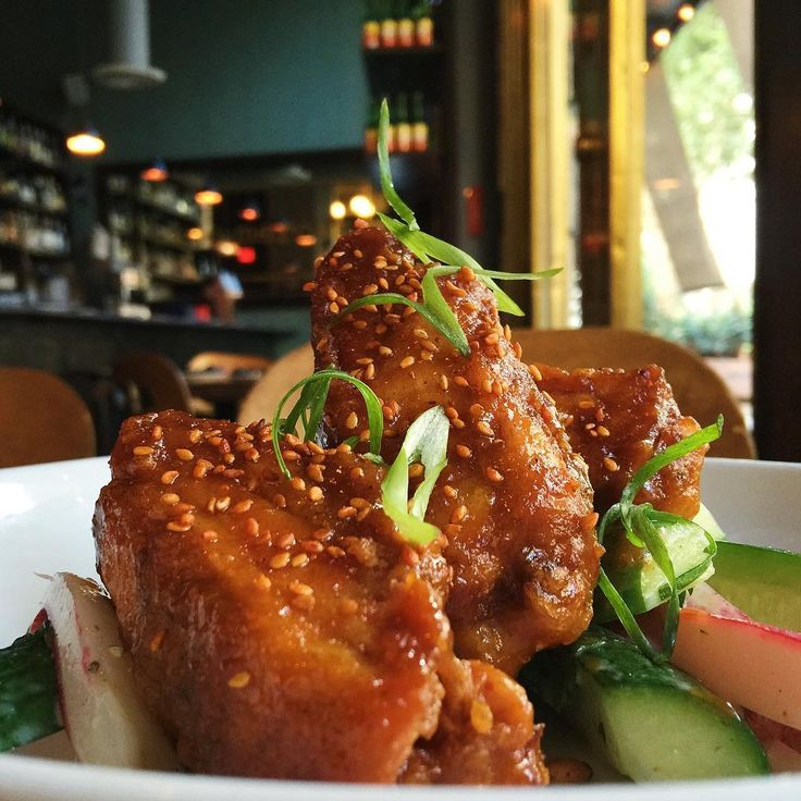 "Sichuan-glazed chicken ""ribs"" with French radishes and Persian cucumber #bacoclassics"