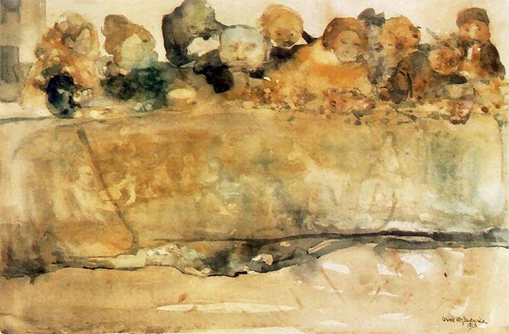 Uczta.   1906. Akwarela na papierze. 31 x 47 cm.