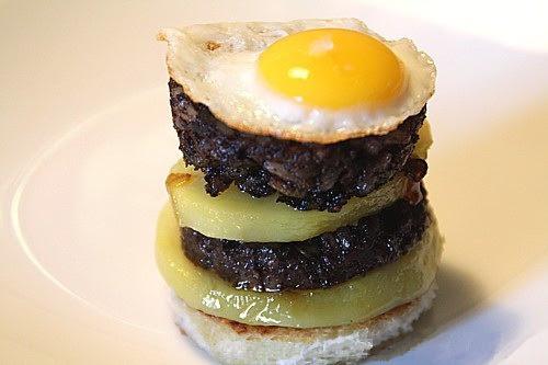 Receta Pincho de Morcilla de Burgos con queso de cabra y patata cocida para La Cocina de Javi