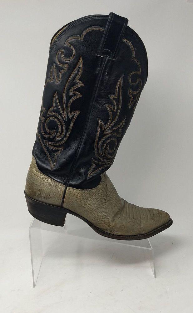 950b3dc19d1 Men's Justin Vintage Black Green Lizard Leather Cowboy Western Boots ...