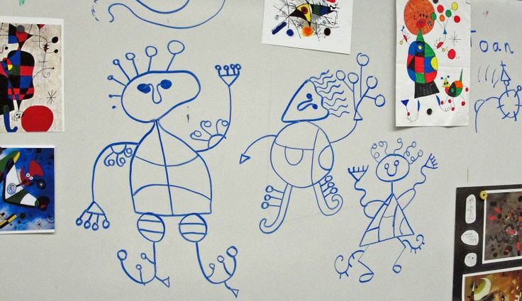 Joan Miro lesson for 1st graders - lines and shapes.: Line Projects For Kids, Kiddo Art, Joan Miro For Kids, Miro Kids, Joan Miro Art Lesson, Lesson Idea, 2Nd Grade