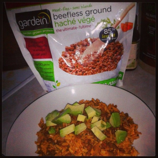 Love Gardein meatless ground, made a yummy mexi rice with chili powder, onions and brown rice and a bit of daily avocado chunks : )