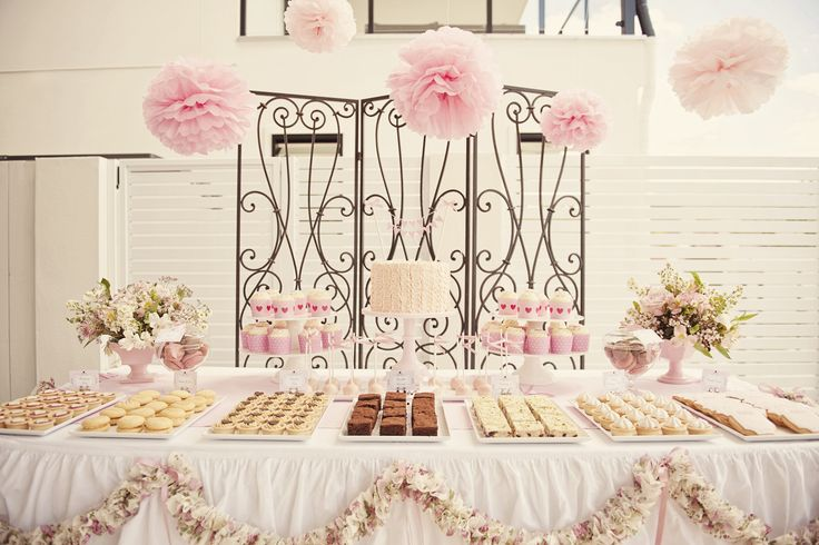 cake in the middle and cupcakes on the side with macaroons and other assortments in the front?