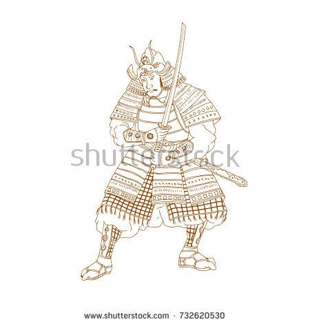 Drawing sketch style illustration of a Bushi, buke or Samurai Warrior in fighting stance with katana sword on isolated background.  #samurai #drawing #illustration