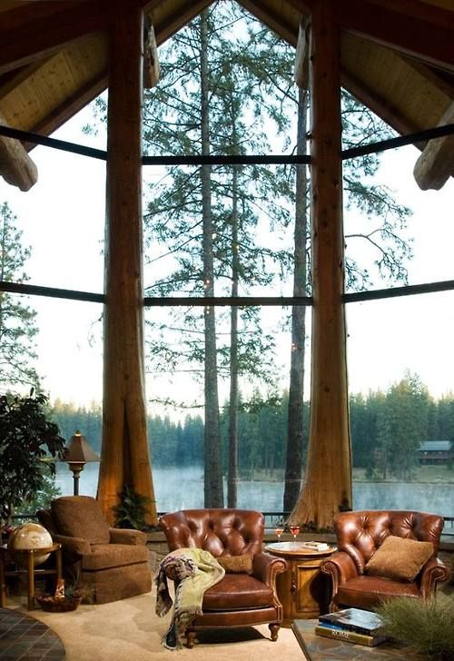 HOME DECOR – RUSTIC STYLE – fantastic view of the lake and outdoors.