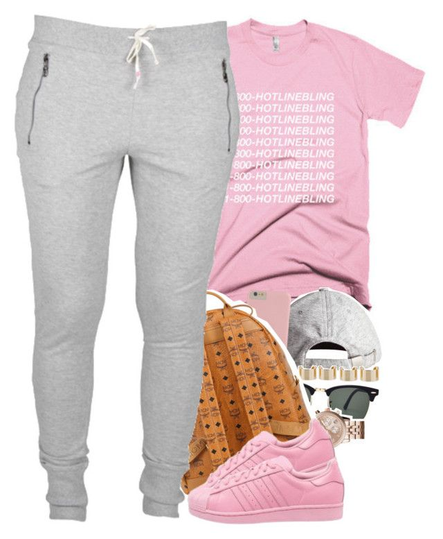 """""""when you still HOTLINE BLING af """" by daisym0nste ❤ liked on Polyvore featuring H&M, Ray-Ban, Maison Margiela, Michael Kors, MCM and adidas Originals"""