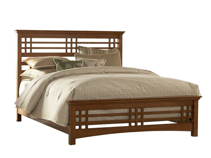 Amazon.com: Avery Complete Bed with Wood Frame and Mission Style Design, Oak Finish, Queen: Home & Kitchen