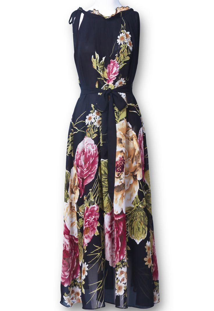 Black Sleeveless Belt Floral Full-Length Dress - Sheinside.com