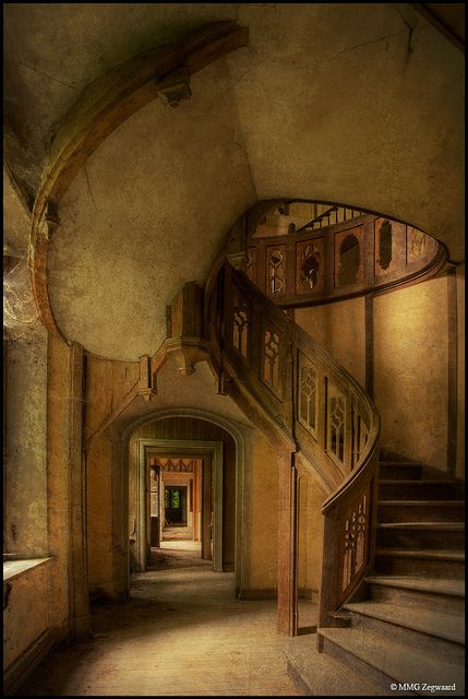 Amazing staircase at Chateau Clochard, an abandoned and forgotten castle in northern France,