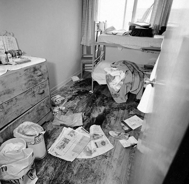 A chilling photograph of the blood-stained room where 8 student nurses were held, raped and murdered, one by one, by Richard Speck in 1966.  Huge Christmas sale! Save up to 60% off your magazine subscription: http://www.thecrimemag.com/huge-christmas-sale-save-60-off-magazine-subscription/