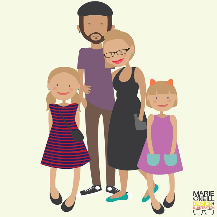 Custom illustrated family portraits by Marie O'Neill. $299 for up to 4 figures. $55 per additional figure. Email info@marieoneilldesign.com.au