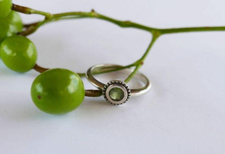 Peridot Ring with beading. #peridotjewelry #greenstone #handmade #silver #localzadesign #rings #bling