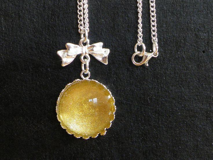 Collier chaîne argenté cabochons couleur or : Collier par jl-bijoux-creation