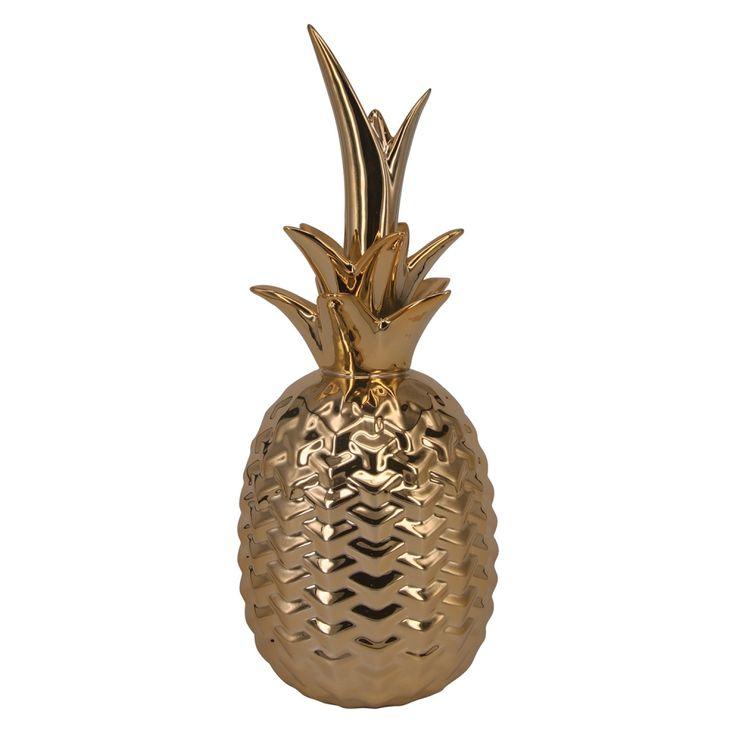 Abacaxi Decorativo Dourado / Cerâmica