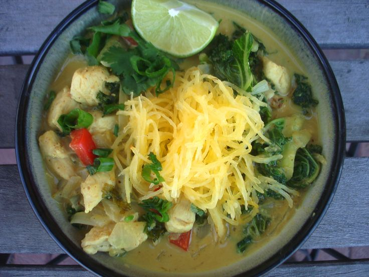 Chicken coconut curry soup. I'd like to try this with kelp noodles in ...