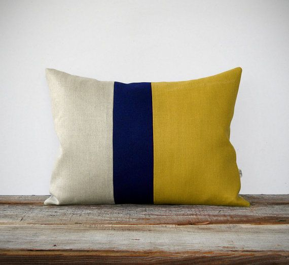 As seen in HGTV Magazine - Color Block Pillow in Mustard Yellow, Navy and Natural Linen by JillianReneDecor Modern Home Decor Honey Gold