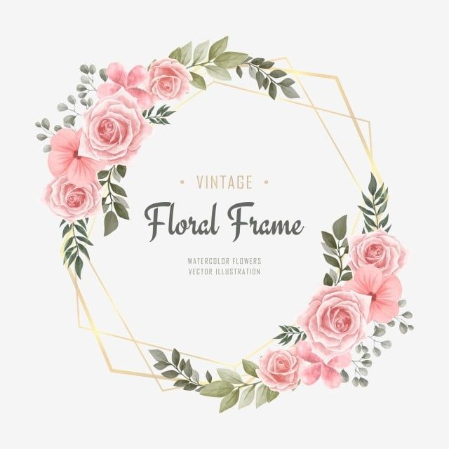 Flower Frame Watercolor Vector