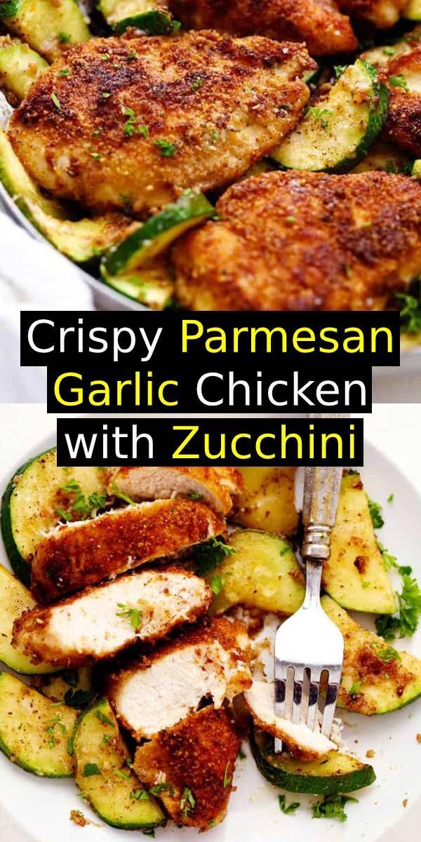 Crispy Parmesan Garlic Chicken with Zucchini #onepan #meal #chicken #easydinner #dinner #parmesan