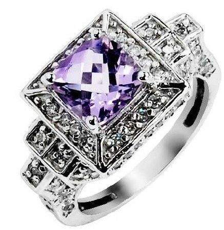antique amethyst jewelry | Antique Cocktail Rings Silver Amethyst Purple Two Tone Square For ...