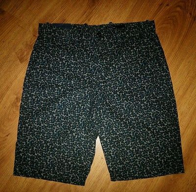 New Gap Mens Cotton Chino Shorts Size 32 Low-rise Hits At Knee Black Blue Floral