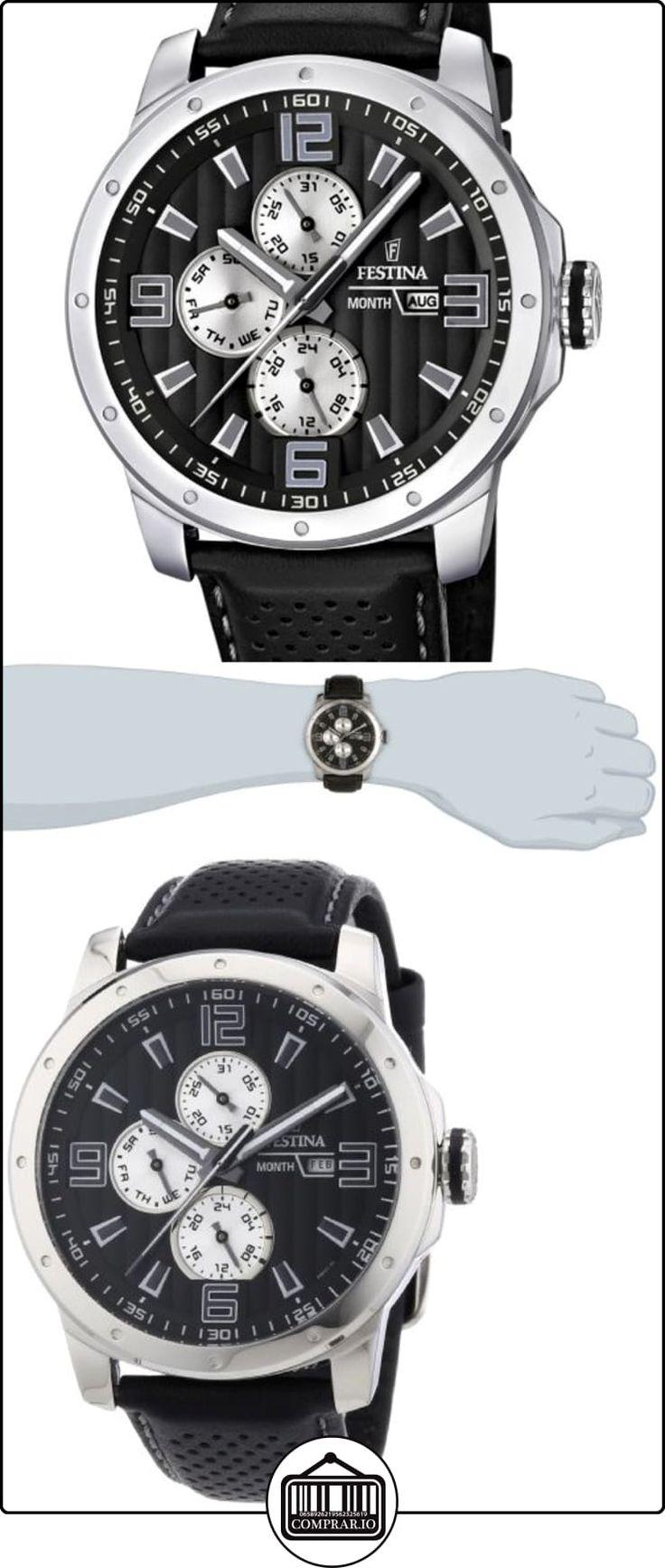 Festina Sport Multifunktion F16585/9 - Reloj analógico de cuarzo para hombre, correa de cuero color negro (agujas luminiscentes)  ✿ Relojes para hombre - (Gama media/alta) ✿