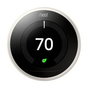 Meet the Nest Learning Thermostat.<br>It learns what temperatures you like, turns itself down when you're away<br>and connects to your phone. It has a big, sharp display. And it's proven<br>to help save energy. In independent studies, the Nest Thermostat saved<br>an average of 10% to 12% on heating bills and 15% on cooling bills.<br>We've estimated average savings of $131 to $145 a year.