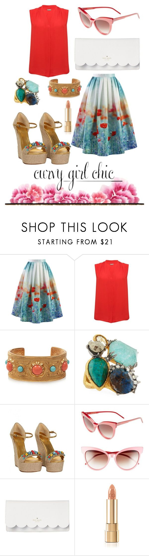"""""""Floral Skirts with Curvy Girl Chic"""" by zoe-keredy ❤ liked on Polyvore featuring Chicwish, M&Co, Ben-Amun, Alexis Bittar, Gucci, Wildfox and Kate Spade"""