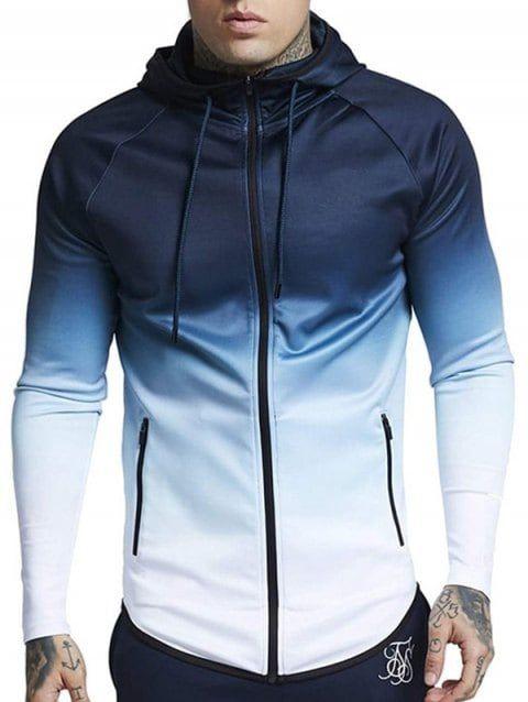 763733e3787 Turndown Collar Colorful Splatter Paint Pattern Long Sleeve Shirt For Men.  Drawstring Raglan Sleeve Zip Pockets Hoodie - WHITE XL