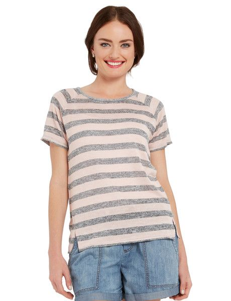 A marle knit tee from Zest, featuring a pale pink and grey all-over stripe design with raglan sleeves and a front hem side split detail.