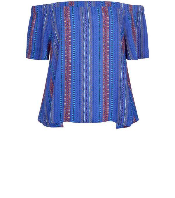 Blue Aztec Stripe Bardot Neck Top | New Look