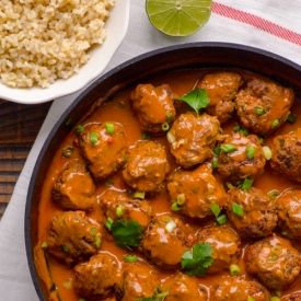 30 Minute Clean Thai Turkey Zucchini Meatballs by ifoodreal #Meatballs #Turkey #Zucchini #Clean #Light