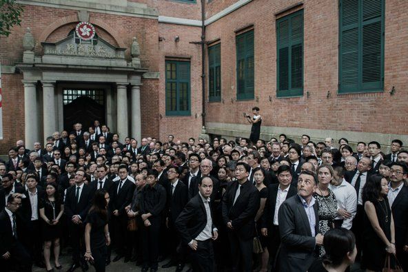 Lawyers gathered in front of the Court of Final Appeal in Hong Kong on Friday during a march in defense of judicial independence.