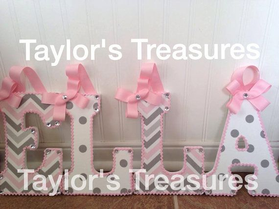 Taylors Treasures  - Hanging Wall Letters - 9 Inch Nursery Letters - Matches Carousel Designs Pink and Grey Chevron - Wood Letters - Name -