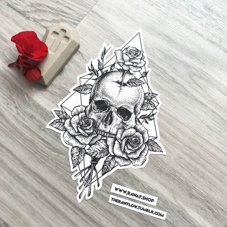Dotwork Skull Rose Rose Tattoo Design, Download or Order Instantly: www … – #delete #Dotwork #dit #download #or