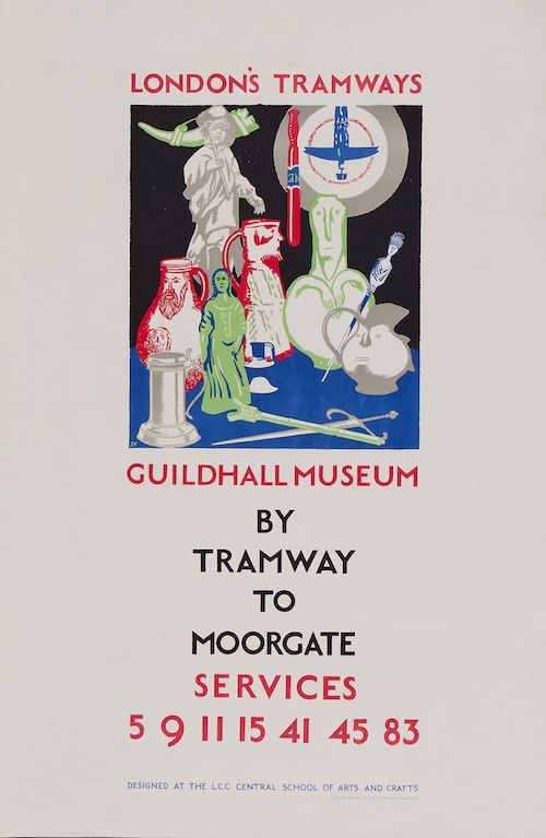 FITTON, James (1899-1982) LONDON'S TRAMWAYS,Guildhall Museum lithographic poster in colours, 1925