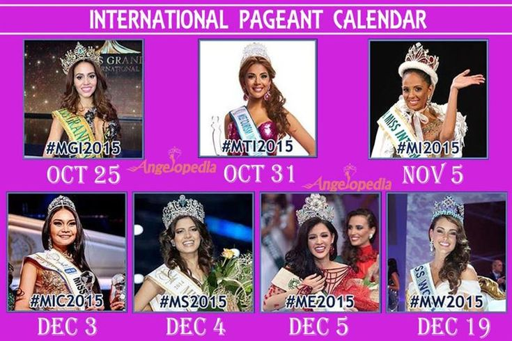 International Beauty Pageant Calendar for the year 2015
