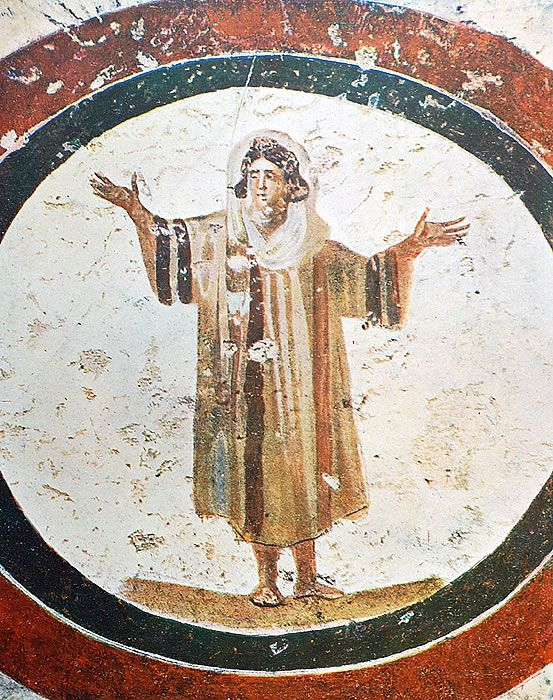 Orantka fresk w katakumbach św. Kaliksta w Rzymie 2. połowa III w.
