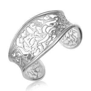 Sterling Silver Rhodium Plated Lace Motif Concave Style Cuff available at joyfulcrown.com