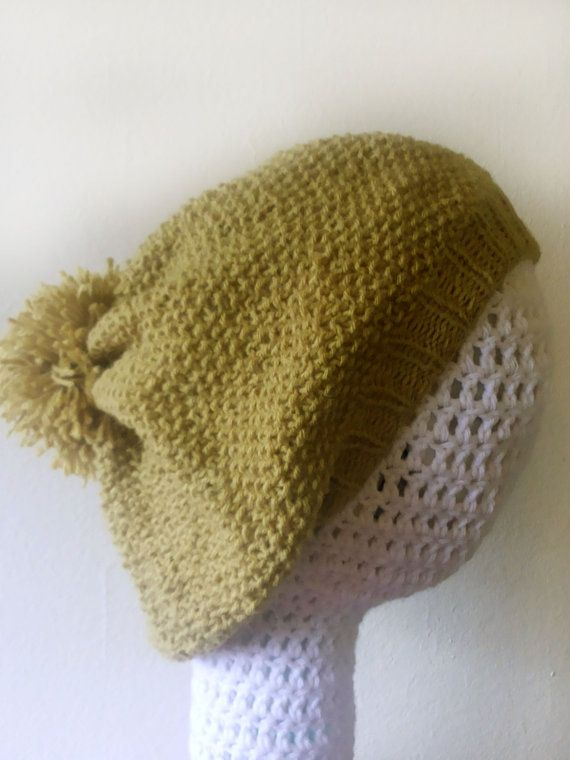 Pistachio green knitting Beret