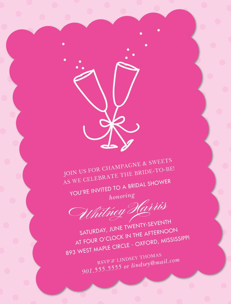 how early should you send out wedding shower invitations%0A Champagne Hot Pink Invitation by picme prints  Bridal Shower  also  available in black