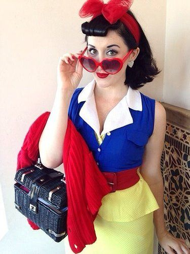 Disney princess Snow White gets a sexy twist with this 1950s-style outfit that shows off your curves. Source: The Lady Damfino