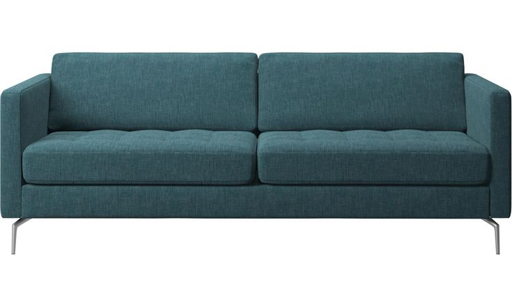2.5 seater sofas - Osaka sofa, tufted seat - Blue - Fabric