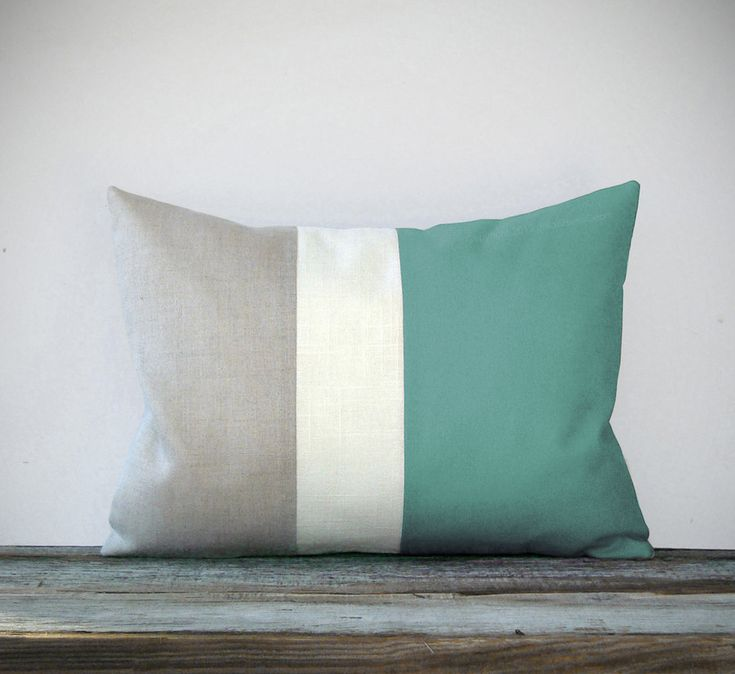 Mint Color Block Decorative Pillow with Cream and Natural Linen Stripes by JillianReneDecor Modern Home Decor Color-block. $45.00, via Etsy.