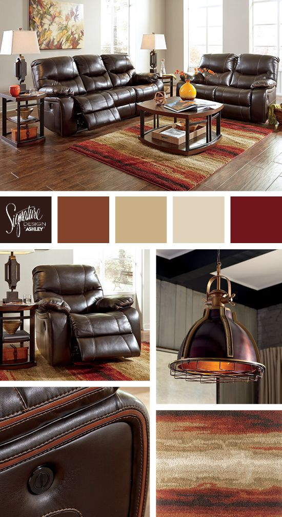 Rich browns and reds for the living room - Pranas Dual Reclining Sofa - Ashley Furniture Industries, Inc.