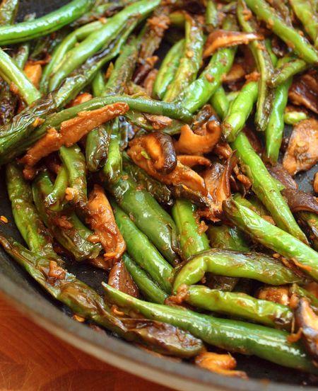 szechuan green beans with mushrooms