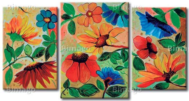 Quadro colorato con tanti fiori diversi  // Paiting with colorfull flowers for boho interiors